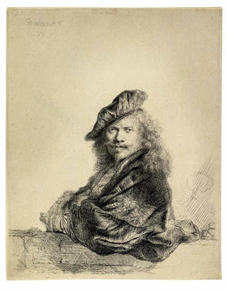 Image: Rembrandt Harmensz van Rijn (Dutch, 1606-1669), Self Portrait Leaning on a Stone Sill (Bartsch 21; New Hollstein 171)-News