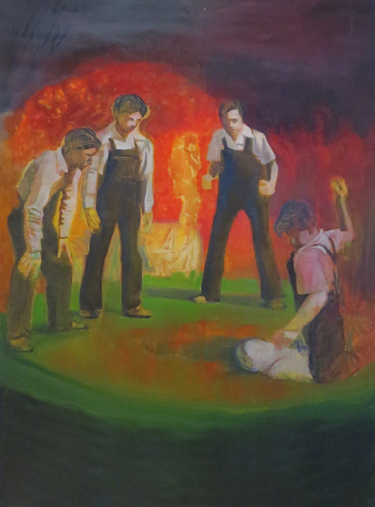 Image: Pavlo Kerestey, Kids Fighting Friend, acrylic, oil on canvas 2007, was part of Premonition: Ukrainian Art Now at Saatchi Gallery in 2014