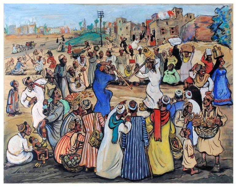 Image: Al Hataba Dance by Alexander Saroukhan, whose cartoons helped shaped Egypt's political cartoons