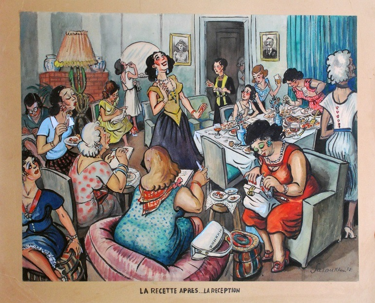 Image: La Recette Apres..La Reception by cartoonist Alexander Saroukhan, whose cartoons helped shaped Egypt's Editorial cartoons