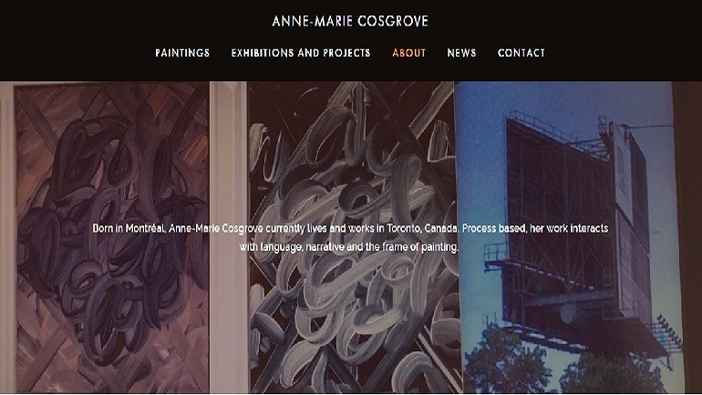 Image: Anne -Marie Cosgrove Website Homepage with a short biography and her works show why she is one of top ten artist websites