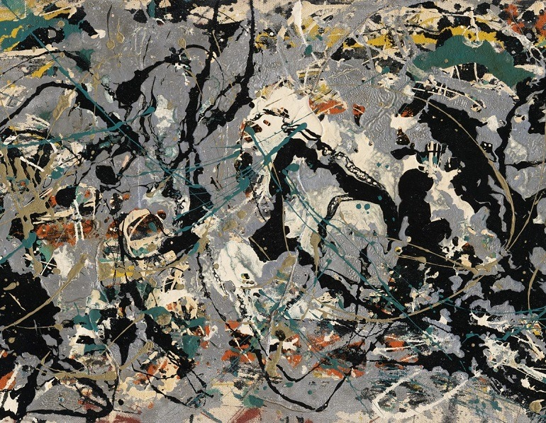 Jackson Pollock's Number 10, 1949 (detail), 1949, is one of the paintings examining modern art history at the Museum of Fine Arts, Boston