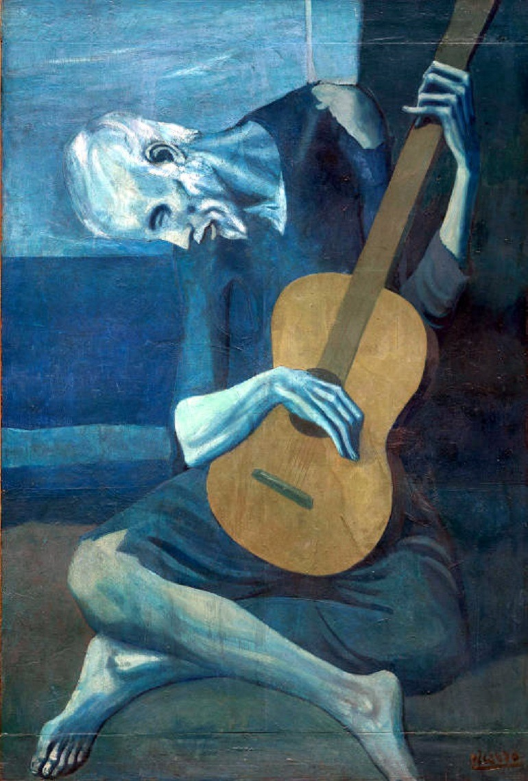 Image. The Old Guitarist by Pablo Picasso, an important work from the Blue Period, shows his relentless effort to express his emotion with colors