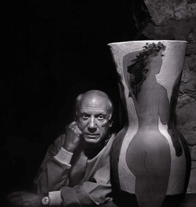 Image: A portrait photograph of Pablo Picasso with one of his ceramics taken in 1954 by Yousuf Karsh