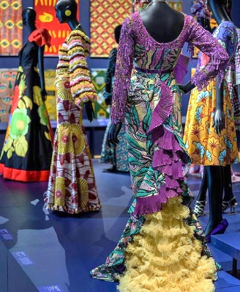 Image: Details of beautiful dresses made from wax printed fabrics with bold patterns on display at the  Philadelphia Museum of Art