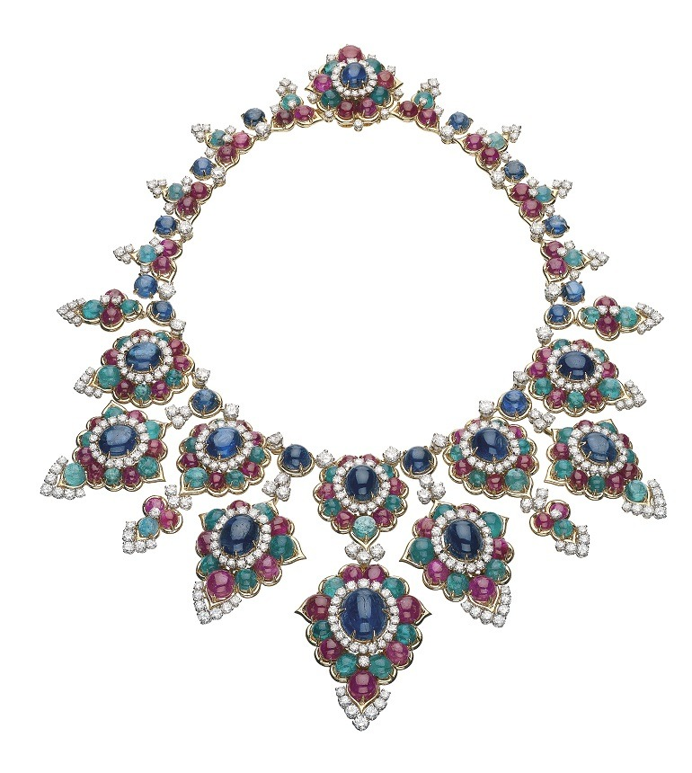 Image: A Necklace made from gold, emerald, ruby, sapphire, diamond by Bulgari in 1967, is one of the Jewels on display in the Italian Jewels: Bulgari Style exhibition