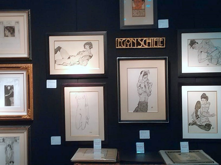 Image: Works by Egon Schiele on display at the Galerie Fledermaus during Baltimore Art, Antique & Jewelry Show