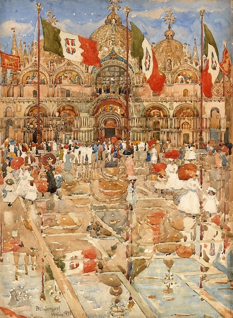 Splash of Sunshine and Rain (Piazza San Marco, Venice), by American artist Maurice B. Prendergast, is one watercolor paintings on display at the Philadelphia Museum of Art