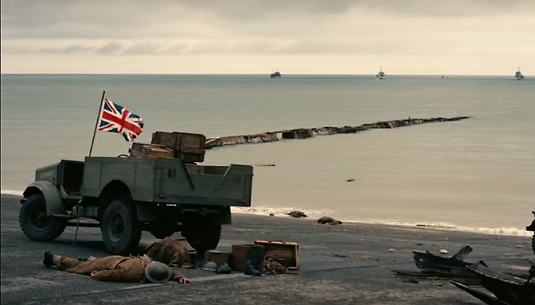 Image:  British Flag still flying in a devastating war  at Dunkirk