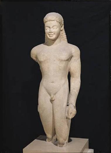 Couros de Paros, 103 cm, marbre de Paros, VIe siècle BC, Louvre