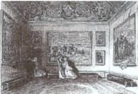 """""""Chambre à coucher de la reine"""", vignette de Versailles, ancien et moderne d'Alexandre de Laborde, 1837, p.246"""