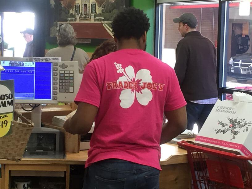 Trader Joe's Hawaiian-shirted staff
