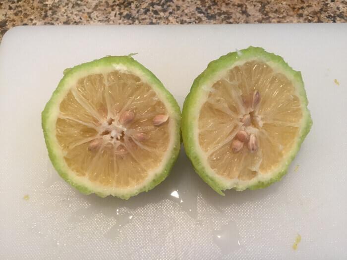 rough lemon in halves