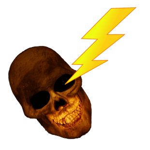 long life, skull and lightning bolt