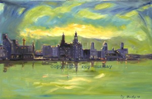 Another version of a sunrise over Liverpool waterfront