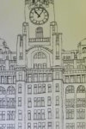 art classes for beginners, drawing of the liverpool Liver buildings, liverpool