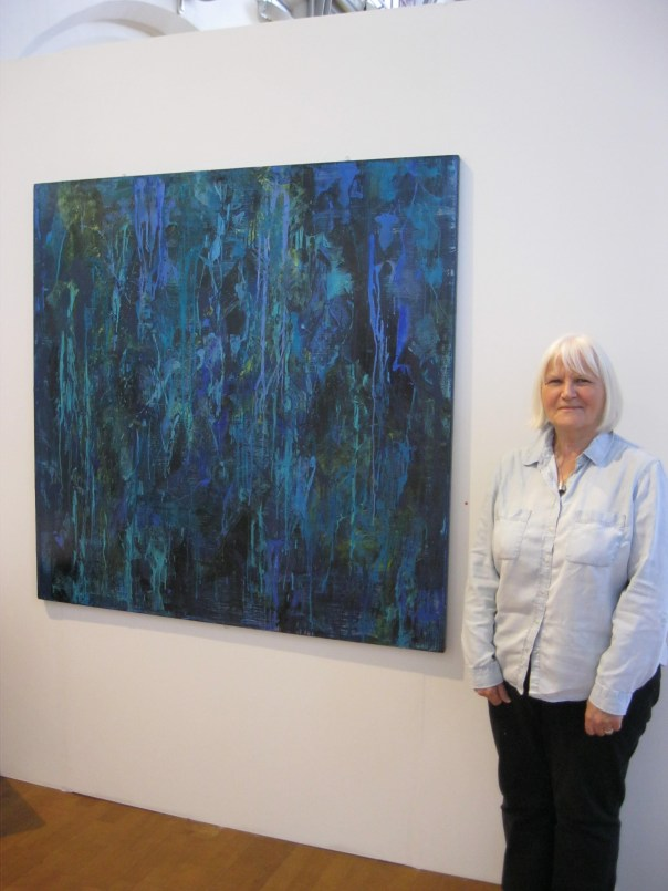 beginners art class member at her degree show at hope university liverpool