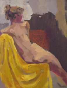 oil painting of a female nude, done in the lydiate life drawing class