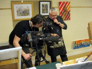 BBC television crew filming members of the sefton art group at maghull