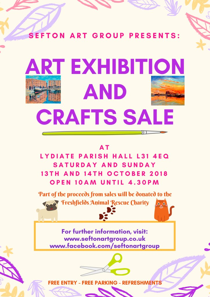 beginners art class and members having an exhibition of their work at lydiate parish hall L31 4HL october 13th and 14th, paintings and crafts for sale
