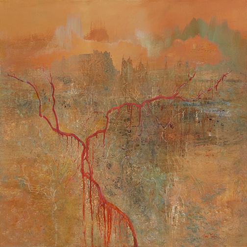 Ancestral Lands acrylic on canvas 122 x 122 cm Lyne Marshall Australian contemporary painter