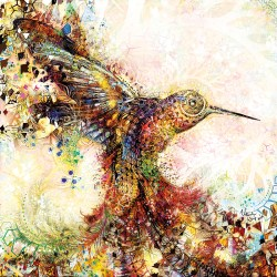 Wall art Hummingbirds of Paradise Natural Warp / ArtCollider