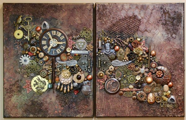Original Steampunk Art Two Canvases