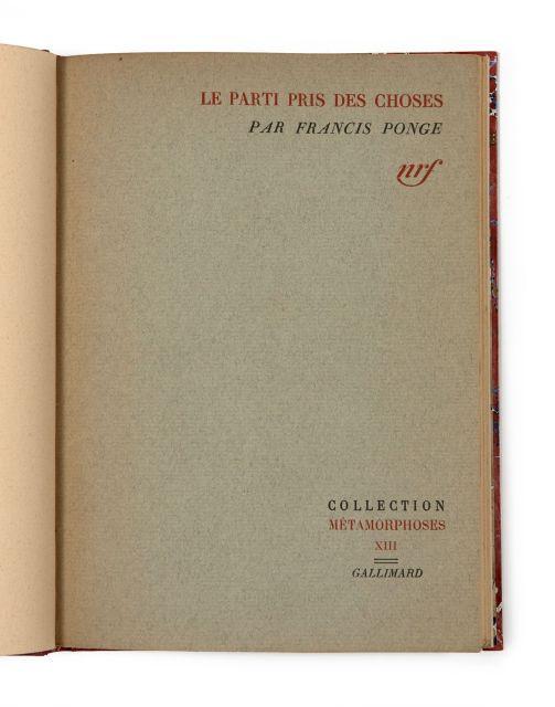 Francis Ponge Le Parti Pris Des Choses : francis, ponge, parti, choses, Books, Manuscripts, N°2564, N°270, Artcurial
