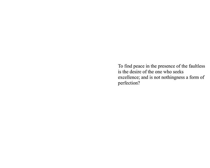Ninth spread of Inspirations. A quote about nothingness surrounded by blank space.