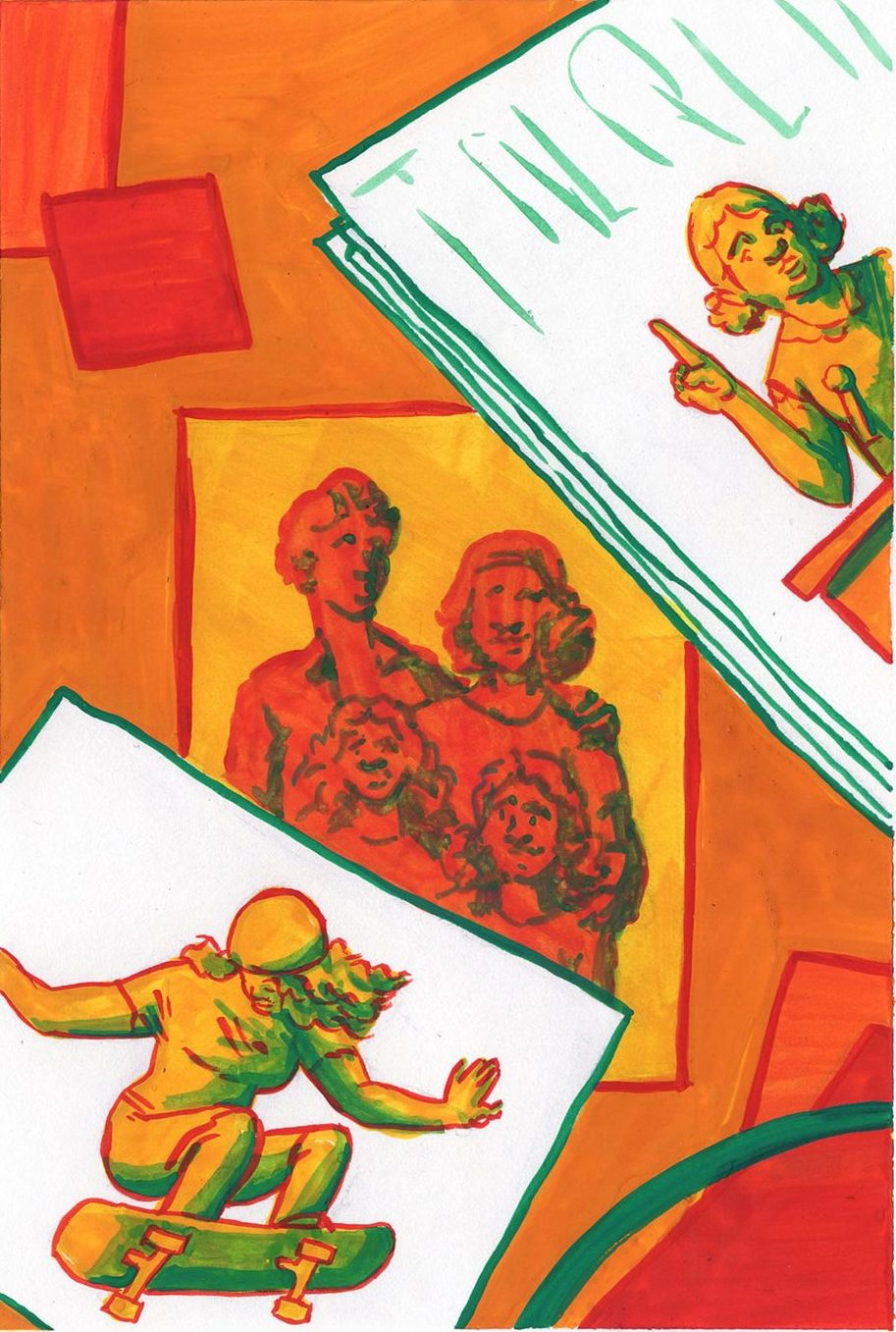 Gouache spot illustration of a family. The two siblings are depicted doing things contradicting assumptions about birth order.