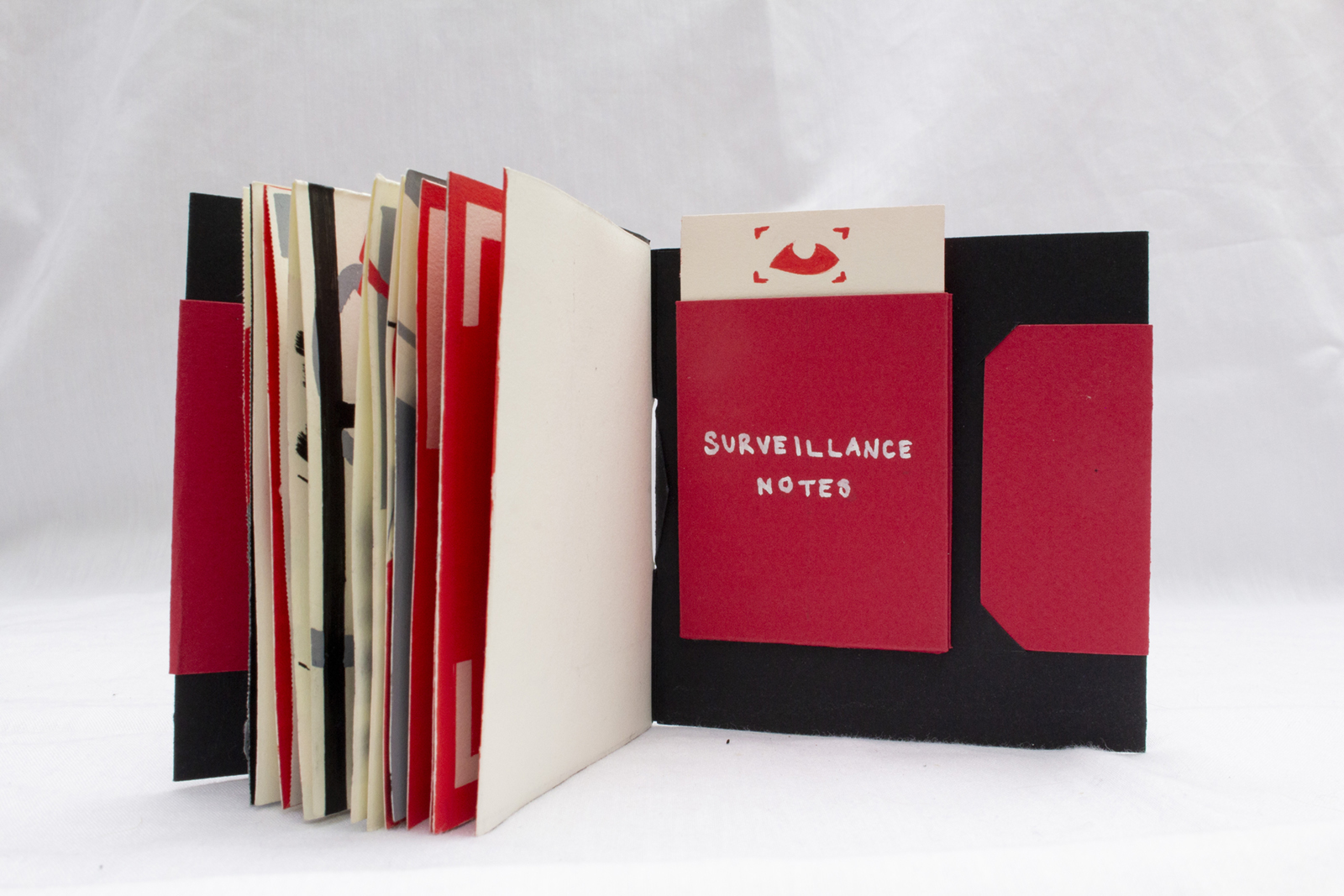 Back cover sleeve. A piece of paper with the framed eye is inside the red paper pocket.