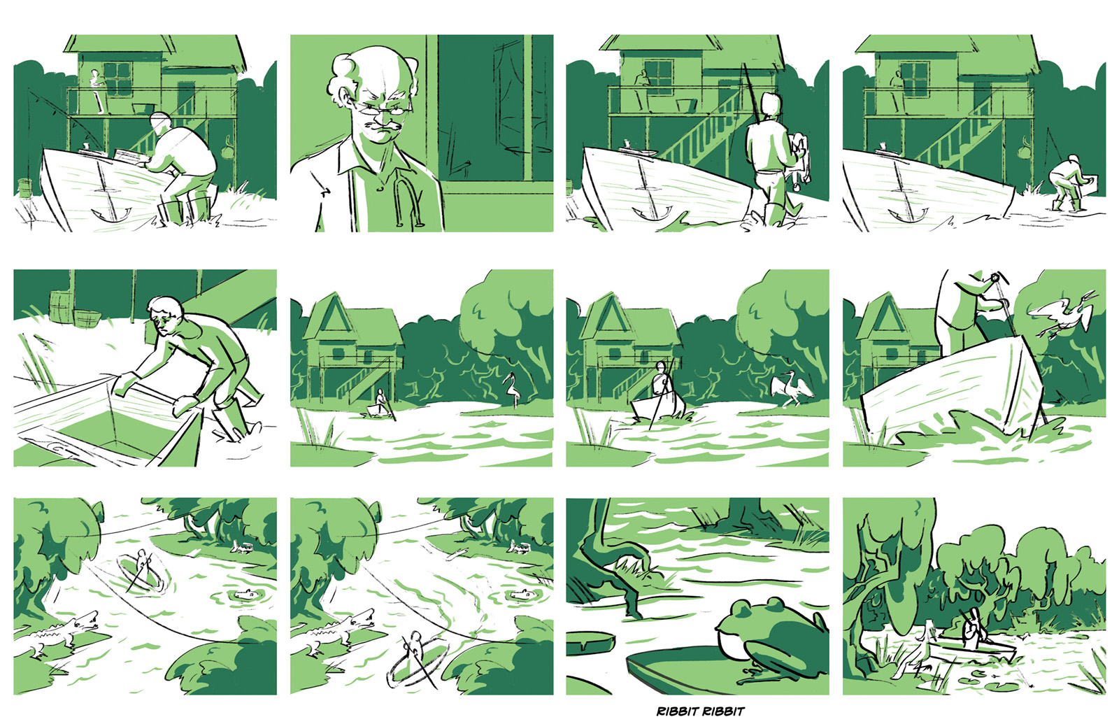 """First storyboard of """"The Devil"""" beat two. Honore rows through the bayou to ask for La Rapet's help."""