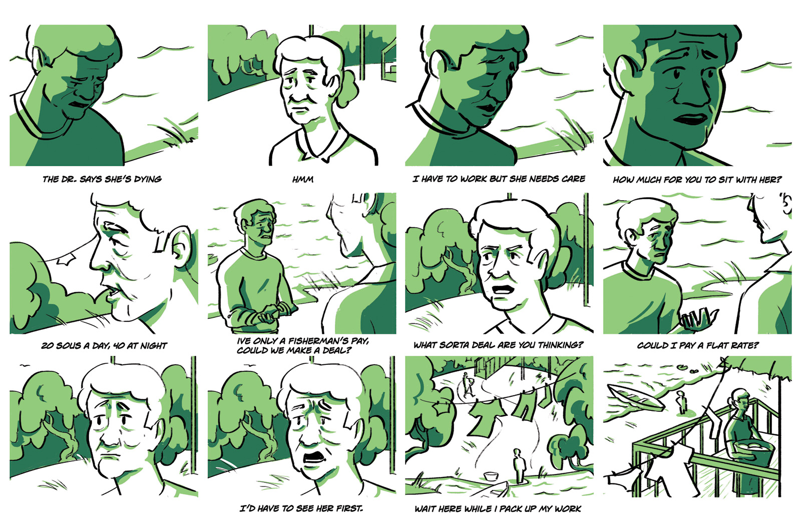 Third storyboard. Honore asks for help but at a flat rate. The two barter before La Rapet agrees to inspect the mother.