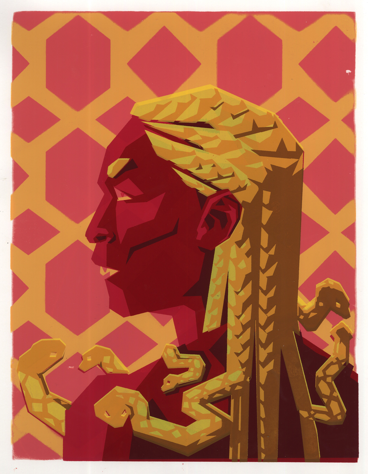 A gorgon in profile depicted in a warm analogous color scheme. Her hair snakes are braided into cornrows.
