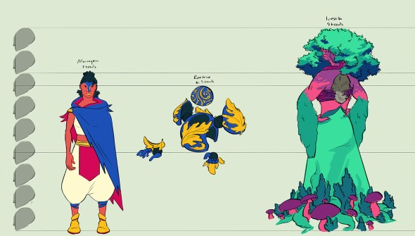 Jettisoned character designs set together for a size comparison. Ireshta is 9 heads tall, Marra is 7 heads tall, and Rae is 6.5 heads tall.