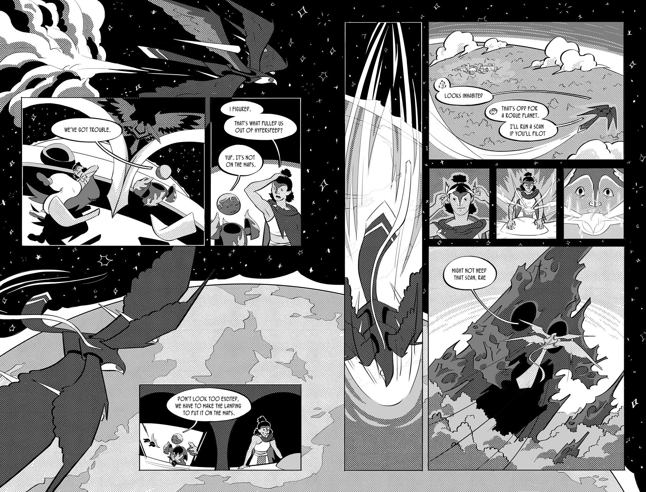 Jettisoned pages two and three. The Peregrinus is pulled out of hyperspeed by the gravity of an unknown planet. Marra and Rae make an emergency landing in the hopes of surviving to chart the new planet. On their way down they spot signs of life right before a giant, mountainous creature rises from the trees below.