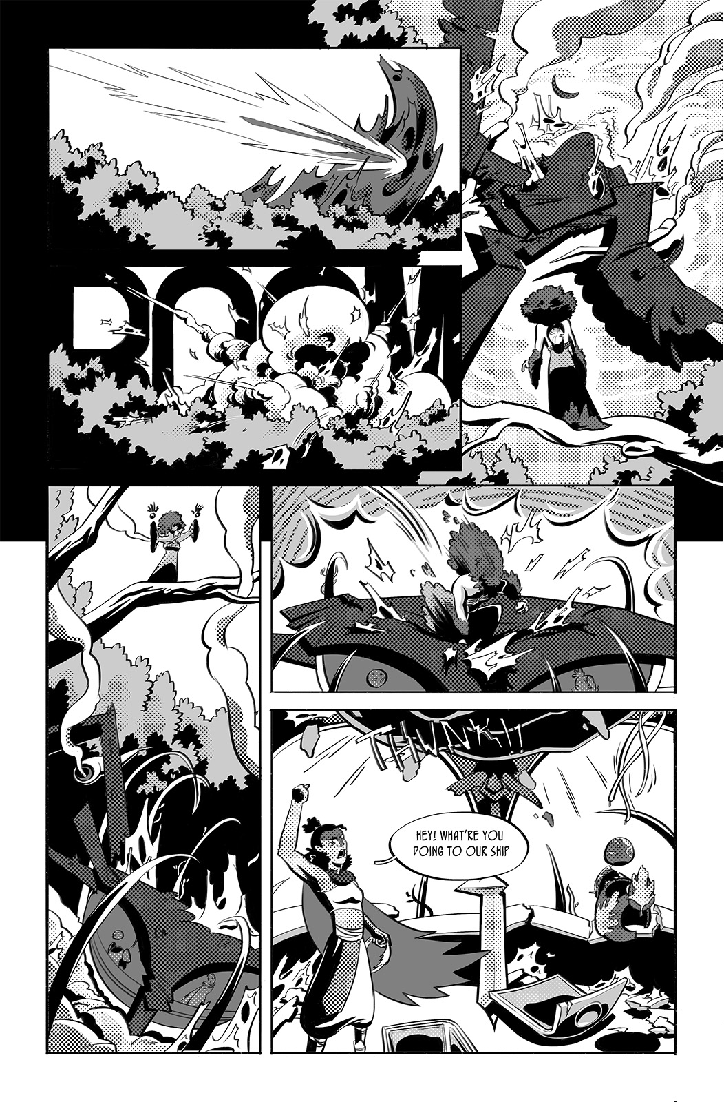 Jettisoned page 4. The Peregrinus crashes into the creature which shatters. Down shot of the ship, tattered and smoking, there's a figure in the foreground. The newcomer raises vines from the earth to surround the Peregrinus before hopping onto the ship's roof.