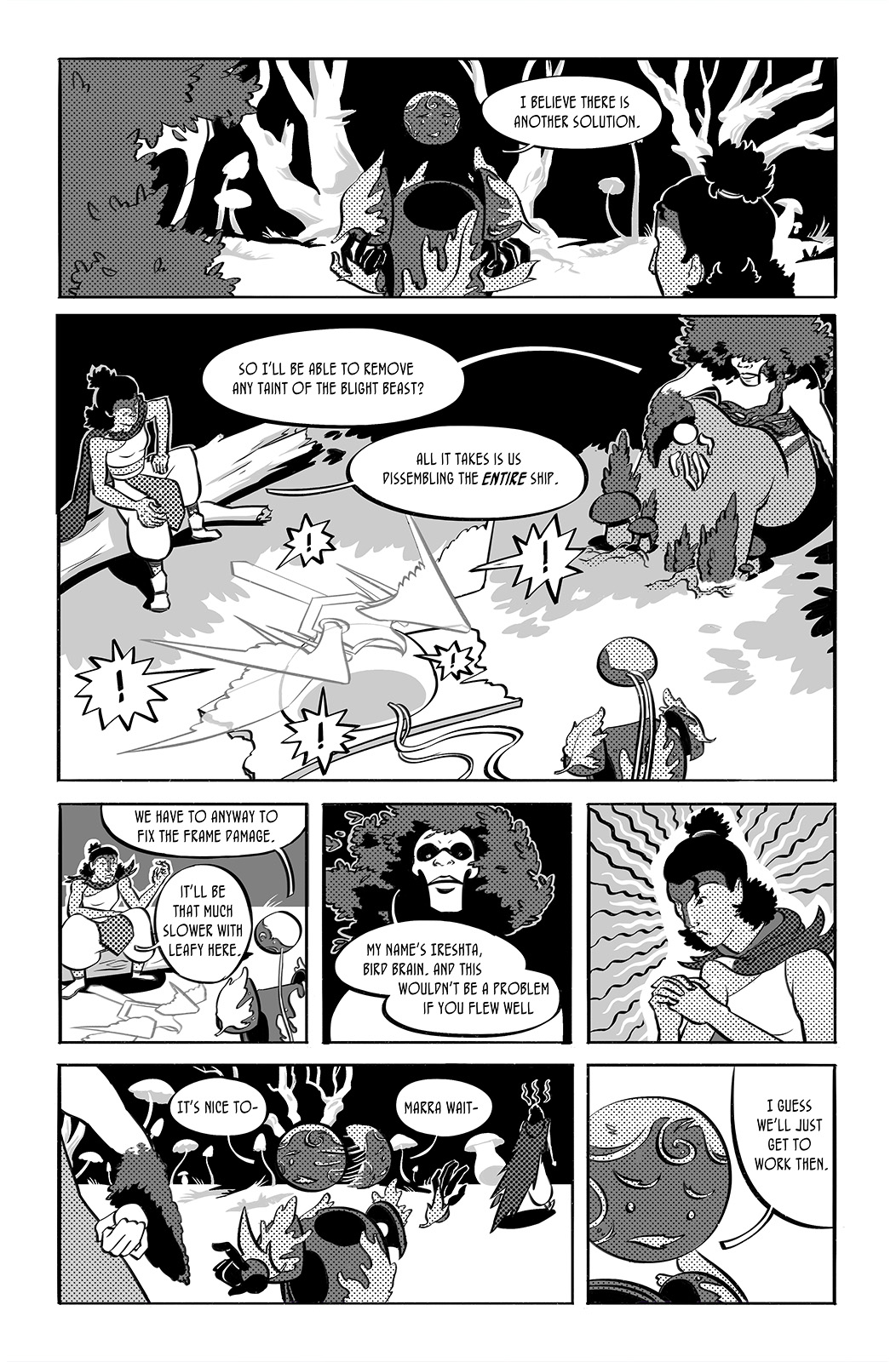 Jettisoned page 7. Raetrice shows the others their removal method. The three discuss how to use it on the ship. Marra and Ireshta (the newcomer) butt heads again before the group breaks up to work.