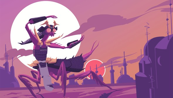 A Star Wars Yam'rii redesign. The insect's carapace has been reimagined to fit with samurai inspired armor. The mantis-like alien is crouched in an agressive stance. They are silhouetted by Tattoine's suns and Mos Eisley's skyline in the background.