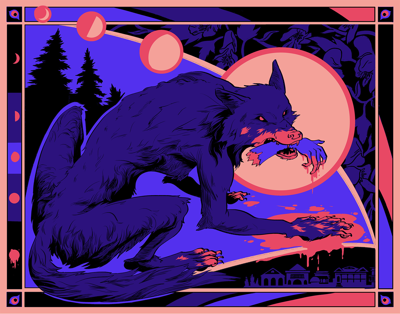 A poster design depicting a werewolf in the woods. The cycle of the moon leads to the wolf's head which is framed in the full moon. A severed hand hangs from it's mouth dripping blood into the pool at it's paws. Framing elements depicted wolfsbane flowers and a village.