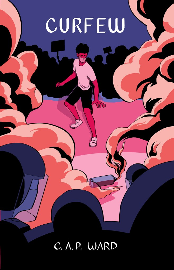 Front cover of Curfew. The protagonist is surrounded by clouding tear gas as they face down a wall of riot cops. The bright colors and contrasting warm and cool tones heighten the tense mood.