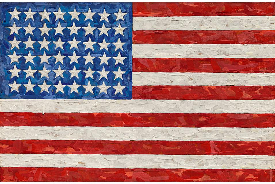 Jasper Johns, Flag, est. $15/20 million, encaustic on silk flag on canvas, 11 5/8 x 17 1/2 in. 29.5 x 44.4 cm. Photo: Sotheby's.