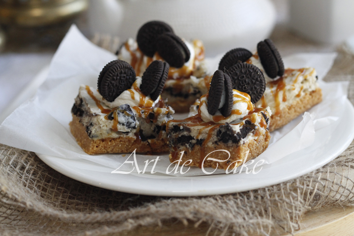 Oreo Cheesecake slices with caramel sauce-1