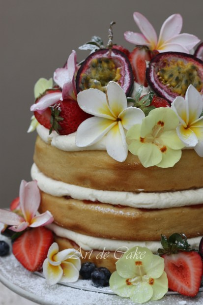 layered summer sponge cake no eggs