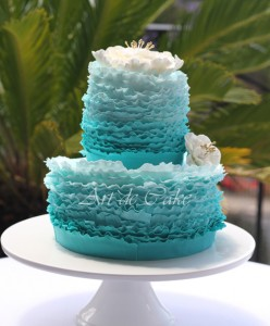 Blue Ombre ruffle cake