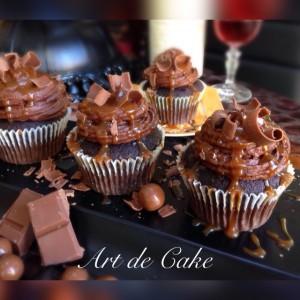 chocolate fudge cupcakes with caramel sauce