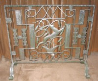Art Deco Iron Fireplace Screen  Leaping Gazelle   Sold ...