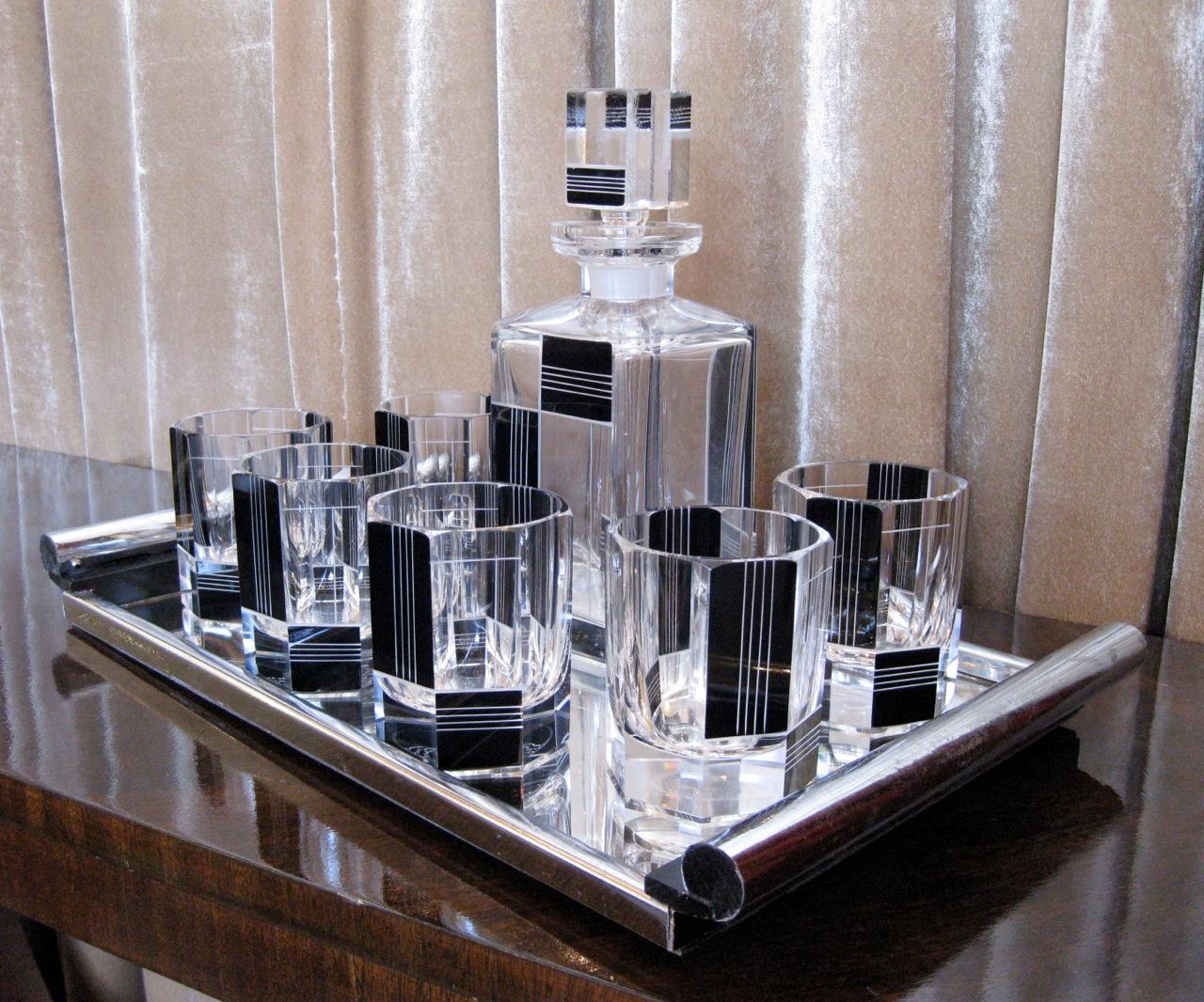 1930s Art Deco Czech Whiskey Decanter Set  Sold Items