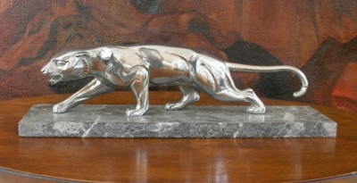 1930s Nickelplated Bronze Panther Statue  Sold Items