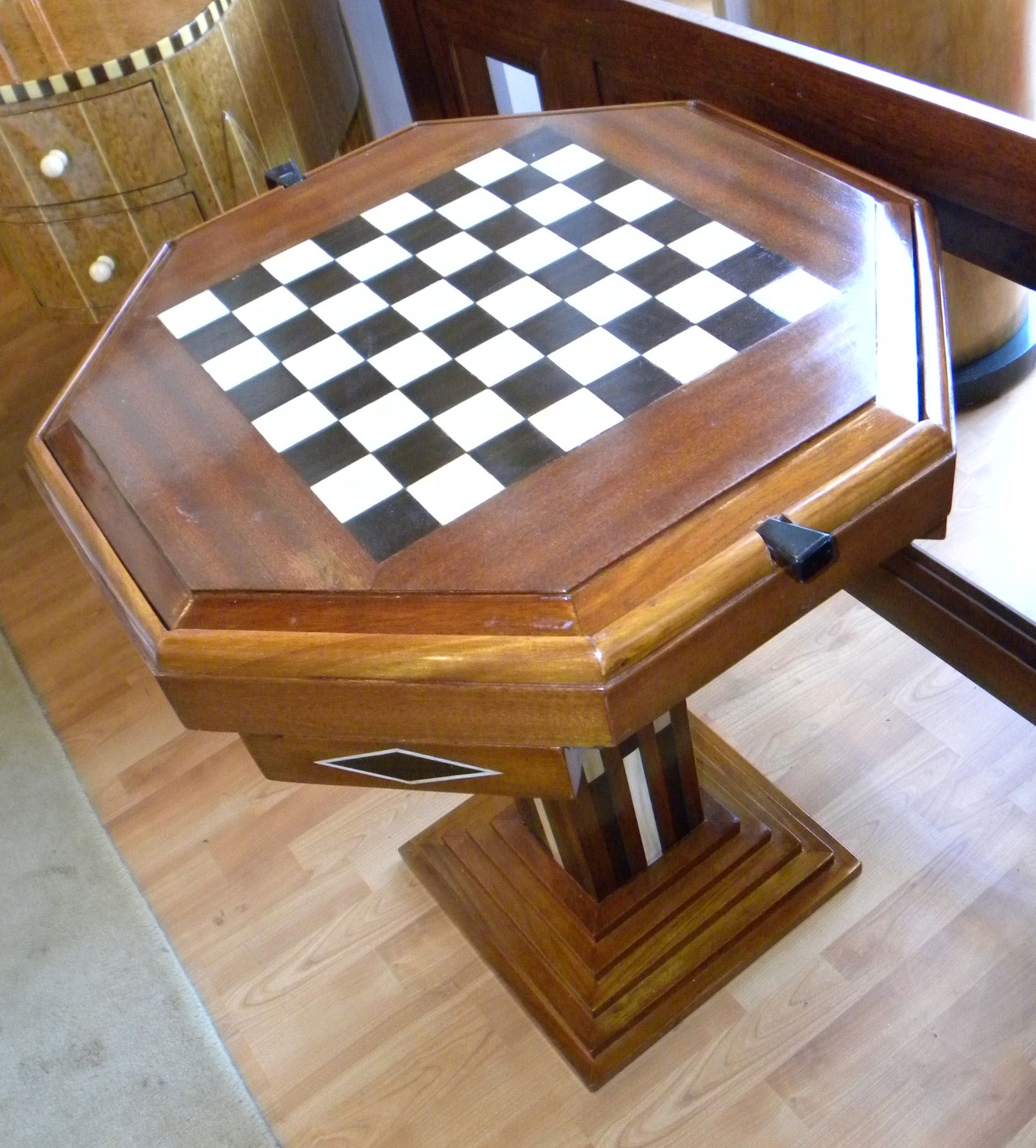 small gaming chair black outdoor rocking chairs art deco game table chess checkers backgammon